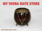 Yerbal Mate Gourd - Artisan Made - With Alpaca Silver Ornamentation