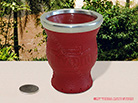 Playadito Leather Covered Glass Vessel